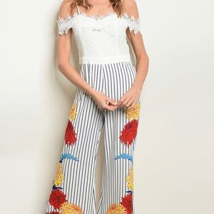 Brand New White & Blue Striped Floral Jumpsuit